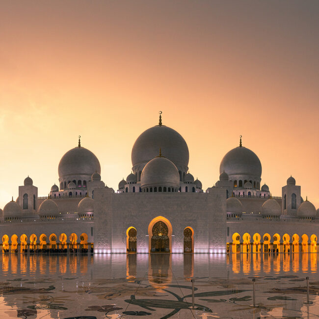 Abu Dhabi Moschee im Sonnenuntergang